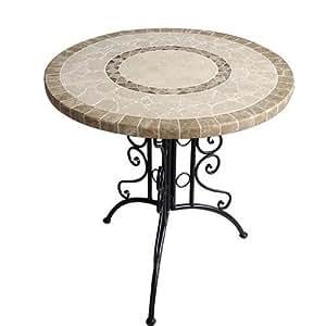 Tavolo in ferro battuto tondo giardino piano in pietra cm 76 giardino e giardinaggio - Tavolo in pietra giardino ...