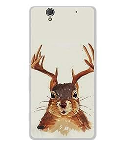 PrintVisa Designer Back Case Cover for Sony Xperia C4 Dual :: Sony Xperia C4 Dual E5333 E5343 E5363 (Innocent Rabbit With Deer Horn Rat Animal)