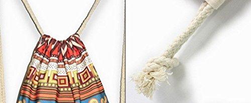 Imagen de feoya  bolsa étnica bohemia tipo saco para mujer con cordones de deporte cuerdas alternativa