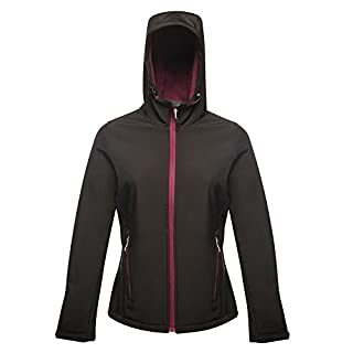 Regatta Standout Womens/Ladies Arley II Hooded Soft Shell Jacket (12 UK) (Black/Blackcurrent)