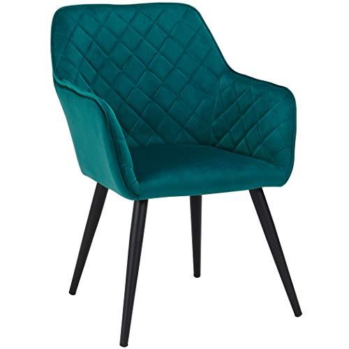 Duhome Esszimmerstuhl aus Stoff (Samt) Petrol Blau Grün Farbauswahl Retro Design Armlehnstuhl Stuhl mit Rückenlehne Sessel Metallbeine 8058