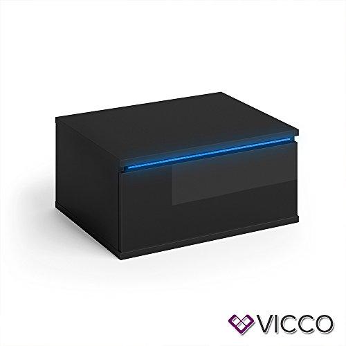 Vicco Nachttisch Pierre schwarz Hochglanz 2er Set LED Nachtschrank wandhängend Kommode Schrank Schlafzimmer Schublade