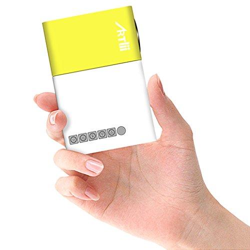 Mini Beamer, Artlii Mobile Projektor klein wie ein iPhone, ein süßes Geschenk für Kinder, Support-Bilder, Cartoons und andere Kinderaktivitäten, kann von Power Bank aufgeladen werden