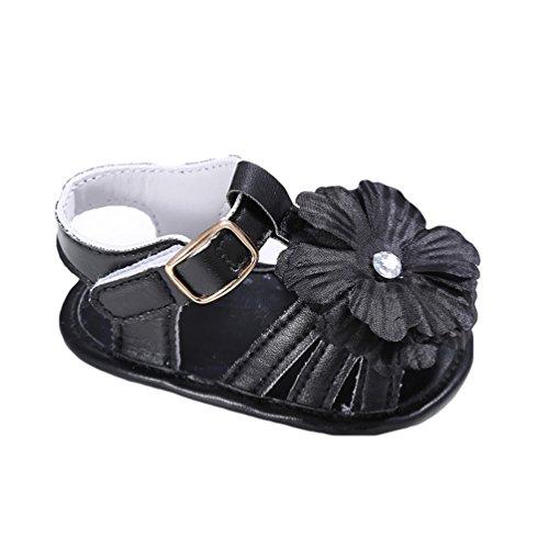 CHENGYANG Bambino Ragazze dei Sandali Fiori Decorazione Suola Morbida Principessa Scarpe Nero