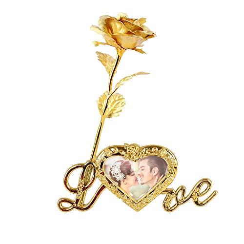 Chyoung oro rosa 24 carati tuffato rosa intramontabile lungo gambo reale rosa artificiale fiore artificiale con amore cornice foto base e confezione regalo