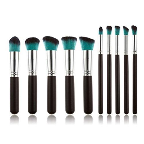 Pixnor 10Pcs brosse Kit bois Fondation Set cosmétique professionnelle pinceau poudre Pinceau fard à paupières pinceaux de maquillage