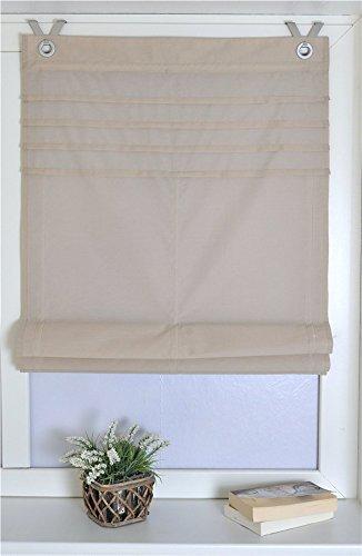 Raffrollo Oesenrollo Gardinen Vorhang mit V-Haken B 100cm * H 140cm Hellbraun