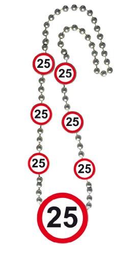 Halskette-Medallion-70cm-Verkehrsschild-Zahl-25-Geburtstag-Kette-Party