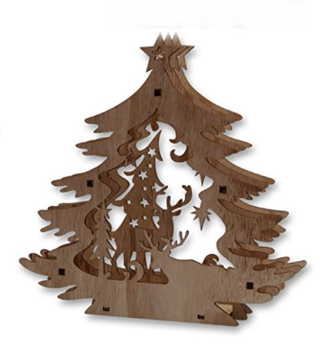 Klp Deko Holz Tannenbaum LED beleuchtet Elch Rentier Hirsch Figur Weihnachtsbaum -