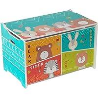 Preisvergleich für HS-Lighting Kinder Spielzeugtruhe Spielzeugkiste Aufbewahrungsbox Kindersitzbank mit Stauraum Sitztruhe ''Hase,Tiger, Löwe und Bär'' Holz, 60 x 36 x 39 cm