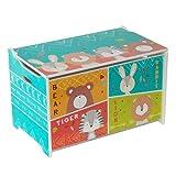 Kinder Spielzeugkiste Spielzeugtruhe Holz Aufbewahrungsbox Sitzbank mit Stauraum HS-17GD-006 (LBH:60 x 36 x 39cm)