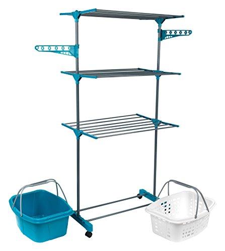 Beldray Nähmaschine 3-Tier-Deluxe Wäscheständer und Wäschekorb Set, Türkis, Set von 2 (Tier-wäscheständer)
