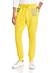 IZOD Mens Poly Cotton Track Pants (8907259319124_ZLTR0106_36W x 32L_Spectra Yellow)