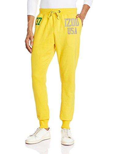IZOD Mens Poly Cotton Track Pants (8907259319124_ZLTR0106_36W x 32L_Spectra Yellow)