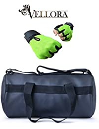 VELLORA Leather Soft Gym Bag (Black) With Netted Gym & Fitness Gloves With Wrist Support Green Color