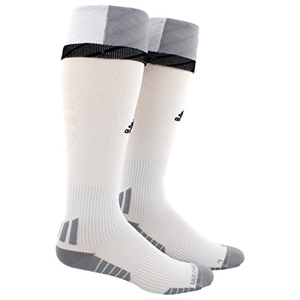 ed9776b49d95 adidas Adult Traxion Premier Soccer Socks, White/Light Onix/Black, Medium