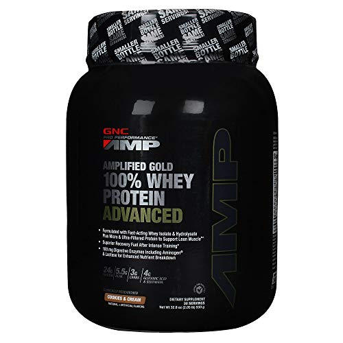 GNC Pro Performance AMP Amplified Gold 100% Whey Protein Advanced, Cookies N Cream, 32.8 oz by GNC Pro Performance AMP (Performance Protein 100 Pro Whey)