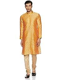 Manyavar Ethnic Motif Kurta Set in Yellow and Beige