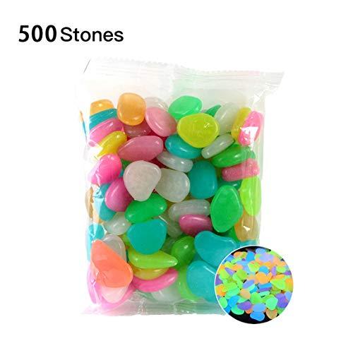 73JohnPol Garden Pebbles Glow Stones Felsen für Gehwege Garden Path Patio Lawn Garden Yard Decor Leuchtende stonesColor Mixing500pcs (Farbe: xie Farbe) (Der Dunklen In Farbe Outdoor-glühen)
