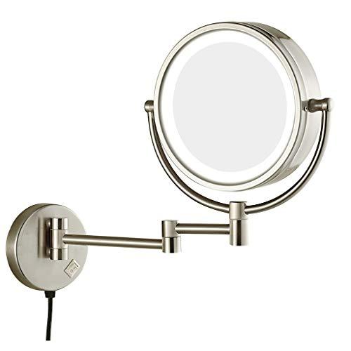 WUDHAO Wand- Schminkspiegel Vernickeln 8-Zoll-LED-Schminkspiegel 3-fache Vergrößerung Kosmetikspiegel 360 Grad Drehbarer Kosmetikspiegel Zur Wandmontage (Color : Nickel Plating, Size : 8 inches 3 X) - Make-up-spiegel Nickel Gebürstetem
