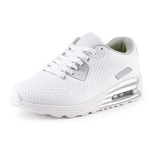 Fusskleidung Herren Damen Sportschuhe Textilschuhe Strick Sneaker Turnschuhe Gym Runners Schuhe Weiss EU 40
