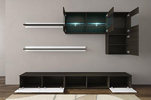 Home Innovation – Glanzlack Wohnwand, Wohnzimmer, Wohnzimmerschrank, Anbauwand, Esszimmer mit LEDs, Verarbeitung weiß lackiert und Wenge, Maße: 250 x 190 x