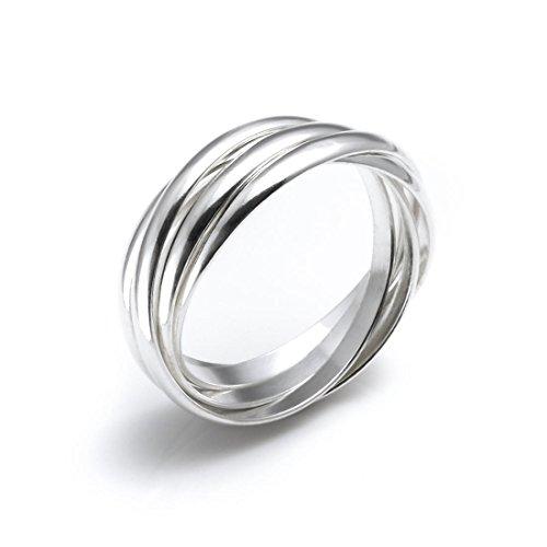 Silverly Frauen .925 Sterling Silber vier Band Interlocking russischen Hochzeits Ring