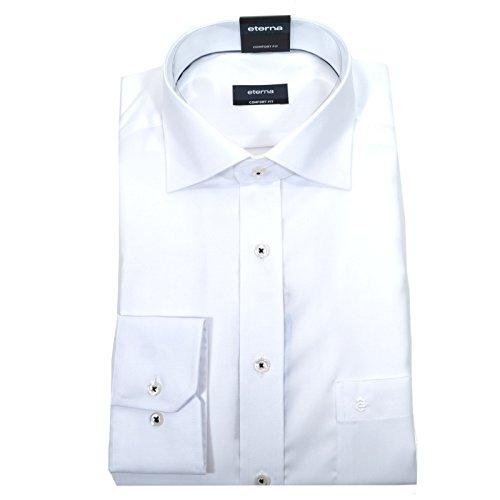 ETERNA Langarm Hemd COMFORT FIT Pinpoint unifarben- Gr. 41 EU, Weiß (Weiße Langarm-griff)