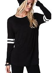 Camisa Casual de la mujer manga larga béisbol raya