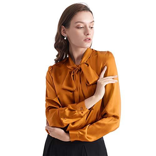 LilySilk Klassisch Seidenbluse Damenmode Seidenhemd Langarmbluse Damen Schluppenbluse Langarm aus 22 Momme (XL, Karamell) Verpackung MEHRWEG -