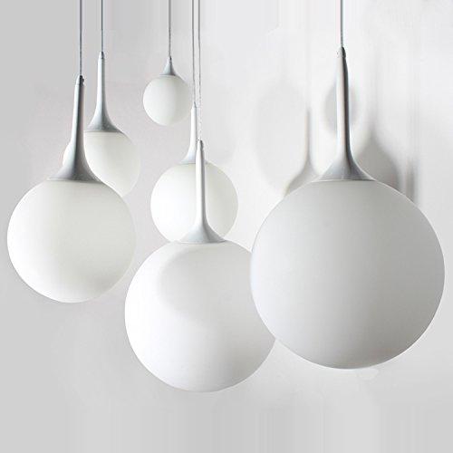 Lx.AZ.Kx E27 Moderno lampade a sospensione Retro Vintage Industriale Stile Ristorante minimalista Bar singola testa vetro bianco latte sfera scala corridoio illumina Ciondolo,20cm