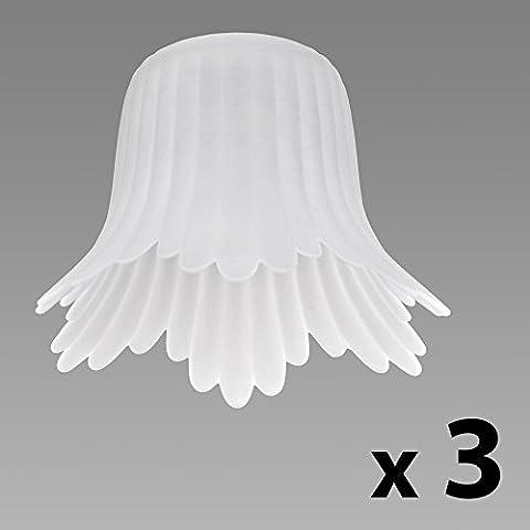 MiniSun - Set de 3 pantallas de repuesto para lámpara, de cristal satinado y estilo de campanilla