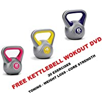 UK Fitness Kettlebell Set of 3: 2kg-4kg-6kg Kettelbells Kettle bells FREE WORKOUT DVD