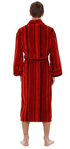 Bown of London - Luxuriöser Velours-Bademantel - luxuriöse 450 g/m² - Multi-Streifen Orange Rot - Herren Rot / Orange