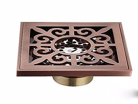 Sdkky tout en cuivre Pest Control Déodorant Siphon de sol, DE SALLE DE BAIN, machine à laver, balcon, double et double Siphon de sol, 10*10cm