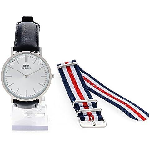 Señoras THINK POSITIVE® Modelo SE W92 Reloj Grande Del Plano De Acero De La Correa De Cuero Negro Hecho En Italia Y Cordora Color Azul, Blanco, Rojo