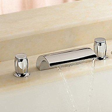 Land weitverbreitet Wasserfall withCeramic Ventil zwei Griffen drei Bohrungen forChrome, Badezimmer Waschbecken (Land Badezimmer-hahn-)