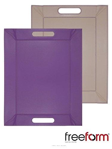 FreeForm réversible Violet et Taupe Set de table plateaux avec poignées simili cuir