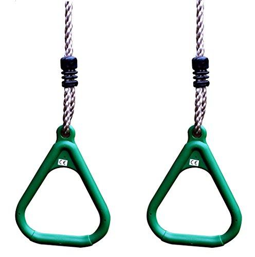 HIKS® 2er Set grün verstellbar Gym Ringe für Kinder Klettern Rahmen und Schaukeln