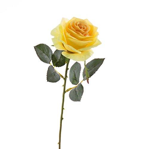 artplants – Künstliche Rose Simony, gelb, Textil, 45 cm, Ø 8 cm – Kunstblume/Kunstrose