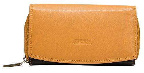 Damen Geldbörse Leder Lang viele Kreditkarten Weiches Lederbörse Groß Viele Fächer Lederbörse Ledergeldbörse Portmonee BB02-Mango-Schwarz