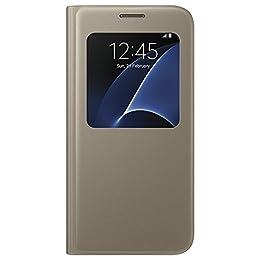 Samsung S View Cover - Funda Oficial Galaxy S7, Color Dorado- Versión española