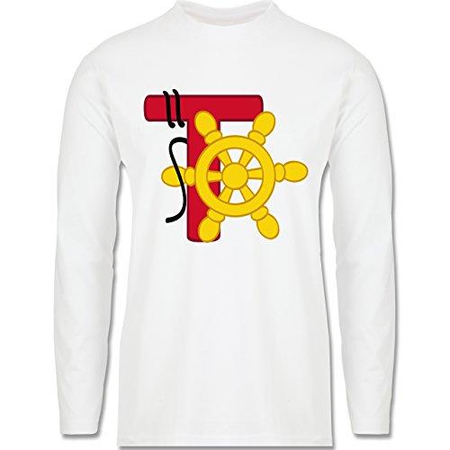 Anfangsbuchstaben - T Schifffahrt - Longsleeve / langärmeliges T-Shirt für Herren Weiß