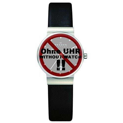 Skagen Uhrband Wechselarmband LB-355SSLB Original Ersatzband 355SSLB Uhrenarmband Leder 14 mm Schwar