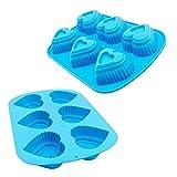 2pezzi stampo per dolci in silicone nel cuore Formato colore blu