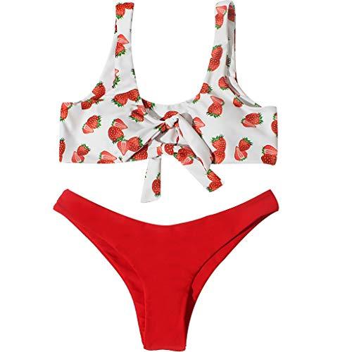 WMJAMZ Schwimmen-kostüm, Frauen Sexy Erdbeere Bikini Set Push-up Gepolsterte Schleife Badeanzug Beachwear Sexy Damen Badeanzüge, Bademodezwei Stücke XL rot