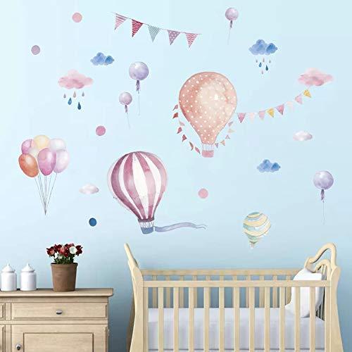 WandSticker4U- Wandtattoo Babyzimmer Aquarell Wolken und HEIßLUFTBALLON | Wandbild: 170x70 cm | Regen Tapete Ballon Poster Punkte Wandaufkleber | Wanddeko fürs Kinderzimmer Mädchen Kinder Baby (Baby Kinderzimmer Mädchen)