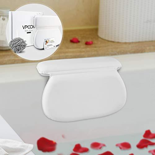 VPCOK Badewannenkissen mit 7 starken Saugnäpfen, Nackenkissen für Home Spa, weiches Kopfkissen für Badewanne und Whirlpool, Anti-Rutsch, weiß (MEHRWEG)