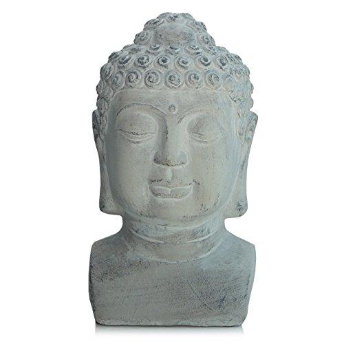 VOSS Buddha Kopf Garten Deko Figur grau Zement Stein Skulptur Feng Shui Gartendeko 30 cm