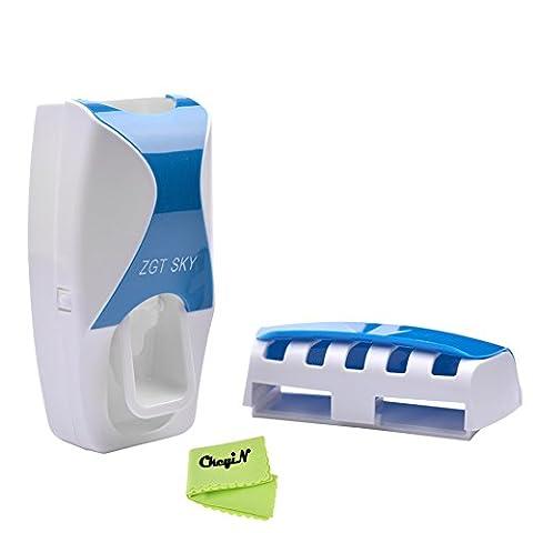 Ckeyin ® Distributeur automatique de dentifrice et Porte-brosse à dents pour 5 Brosses (Bleu)